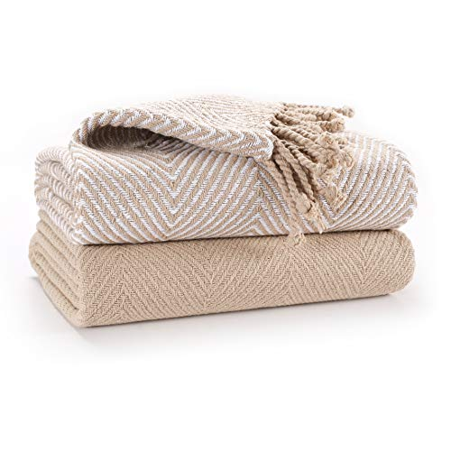 EHC Luxus Packung mit 2 Chevron Cotton Single Sofa Decke, 125x 150cm - Beige