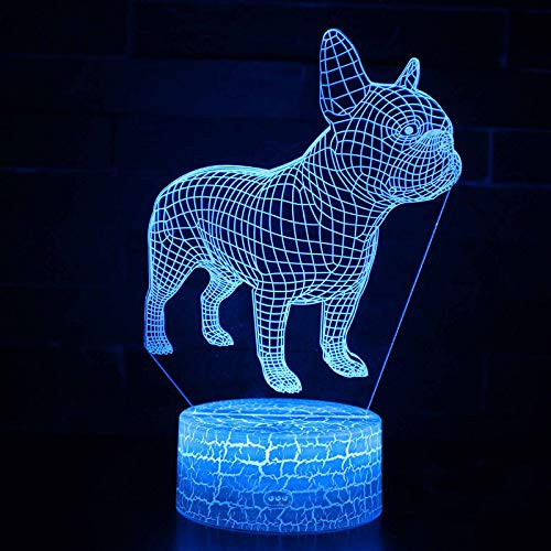 3D Animal Dog Pattern Night Light,Sleep Light,Illusion Lamp,7 Color Change Decorative Lights, Kids Toys Birthday Gift Touch with Remote Control for Baby Adults Bedroom