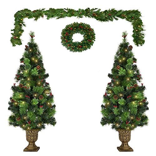 Outdoor Christmas Tree Set of 3, Pre-Lit Christmas Tree with Light, 9FT Garland Wreath Set of 2 4FT Entrance Trees丨Lighted 200 UL Certificated LED Lights Artificial Xmas Spruce Tree Red Berries