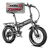 Eahora X5 N 750W High Power Version 20' Fat Tires Folding Electric Bike 48V 10.4Ah Battery Ebike for Adults & RV Power Recharge System 7 Speed with Fenders & Rack for Snow Beach Mountain