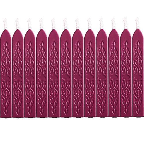 12 Stücke Siegellack Sticks mit Dochte Antikes Feuer Manuskript Siegelwachs für Wachs Siegelstempel (Wein Rot Farben)