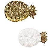 Bandeja de almacenamiento de cerámica de piña, Muebles para el hogar decorativos retro, sofisticados y elegantes para anillos Pulseras de cadena Pendientes Pendientes Bandejas Joyas de cosméticos
