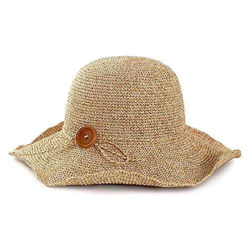 WYYY Chapeau Dame Chapeau De Soleil Pliable Fabriqué À La Main Boutons par Le Travers Protection Contre Le Soleil