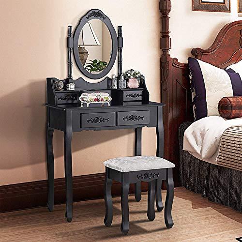 mecor Schminktisch Kosmetiktisch Frisierkommode Frisiertisch inkl. Abziehbarer Spiegel, Hocker und 4 Schubladen schwarz