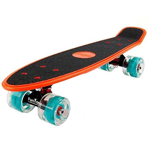 FunTomia® Mini Board monopatín Skateboard 57cm - Big Wheel 65mmx45mm (80A) - Rodamiento ABEC-11 (Naranja - con LED Rollo)