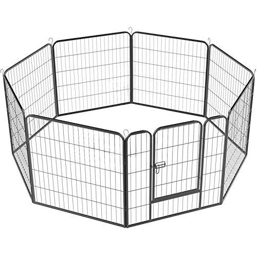 YAHEETECH Foldable Dog Pen Play Yard - Portable Pet Puppy Cat Metal Exercise Barrier Fence w/Door Outdoor Indoor 32 inch 8 Panel Black