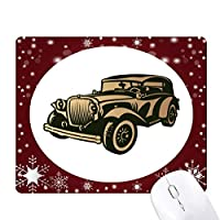 黒クラシックカーのシルエット・パターン オフィス用雪ゴムマウスパッド