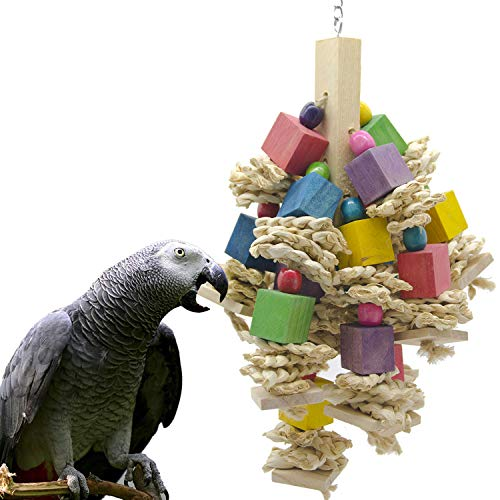 SHANTU Parrot Bird Chewing Toy - Natural Wooden Parrot Blocks Knots Tearing Toy for African Grey, Macaws Cockatoos, and a Variety of Amazon Parrots