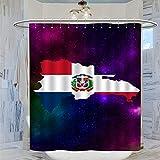 DRAGON VINES Cortina de ducha, diseño de mapa de la República Dominicana, 183 x 183 cm, impermeable, resistente al moho y al moho, con 12 ganchos de plástico, lavable