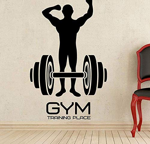 Gym Training Place Fitness Logo Calcomanía de pared Vinilo Gym Sports Sticker Decoración de la pared Extraíble Impermeable Calcomanía Pegatinas de pared 36 X 58 Cm