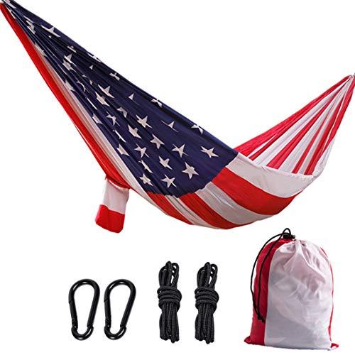 CPY-EX Camping leichte tragbare Fallschirm-Hängematte, Nylon-Hängematten-Schaukel, Tragfähigkeit bis zu 200 kg, amerikanische Flagge