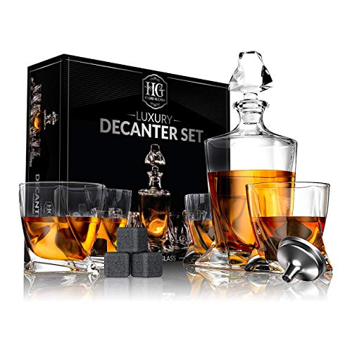 Premium Glass Decanter Set, Whiskey Decanter Set 4 Liquor Glasses, Mens Gift 9 Cooling Whisky Stones...