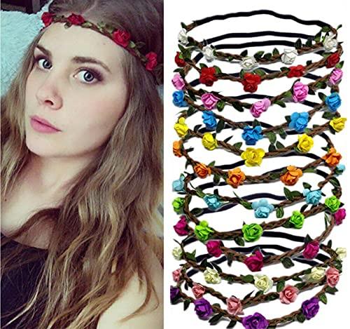 12 diademas de flores para mujer, cinta para el pelo, diadema, diadema, con banda elástica para mujeres, niñas, multicolor
