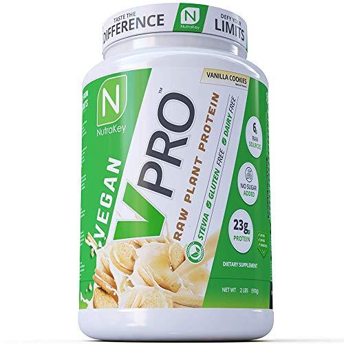 NutraKey V-Pro, Raw Plant Based Protein Powder with 23g of Protein, (Vanilla) 2-Pound