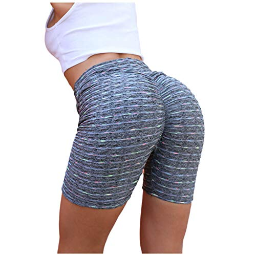ManRiver Womens Running Shorts Yoga Pants, Colorful Striped Print Hip Lifting Sports Compression Gym Exercise Capris