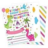 WERNNSAI Dinosaurio Invitaciones de Fiesta con Sobres - Dino Artículos de Fiesta para Niñas Cumpleaños Baby Shower Fiesta de Verano en la Piscina 20 Set Rellenar Tarjetas de Invitaciones