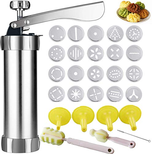 Cookie Press for Baking, Cookie Press Gun Set with 20 Stainless SteelDiscs Molds and 4 Icing Nozzles for DIY Cookie Maker and Cake Decoration, Silver