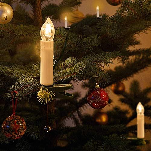Kerzen Lichterkette, THOWALL 12M 30er LED Weihnachtsbaum Lichterkette mit Klemmen, Flammenloses LED Kerzen Dekoration für Weihnachtsbaum, Weihnachtsdeko, Hochzeit, Geburtstags, Party, Warmweiß