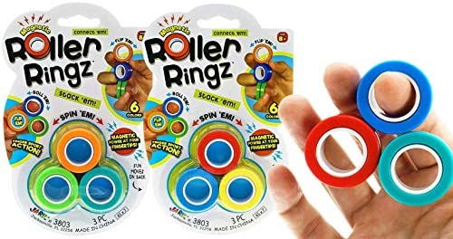 6 Magnetic Rings Toys Finger Fidget Toy 2 Sets 3 Rings Each Anti Stress Fingers Rings Magnetic product image