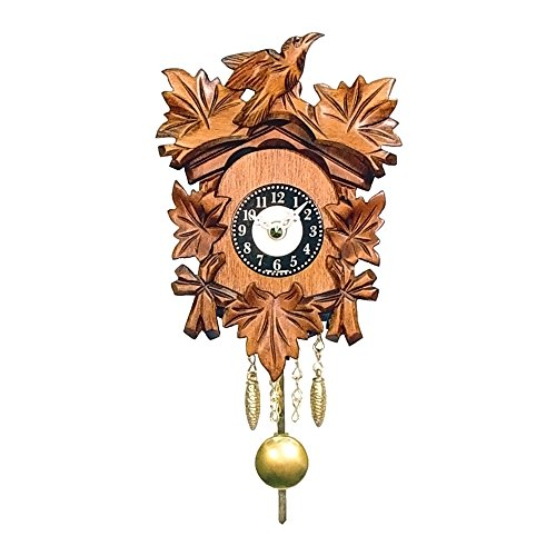 Alexander Taron 0125-1QP Engstler Battery-Operated Clock - Mini Size with Music/Chimes - 5.5 H x 4.25 W x 3.25 D, Brown