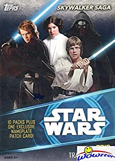 2019 Topps Star Wars Skywalkers Saga EXCLUSIVE Factory Sealed Retail Box with 10 Packs & SPECIAL NAMEPLATE PATCH Card! Look for Inserts, Parallels & Autos from Across the Star Wars Galaxy! WOWZZER!