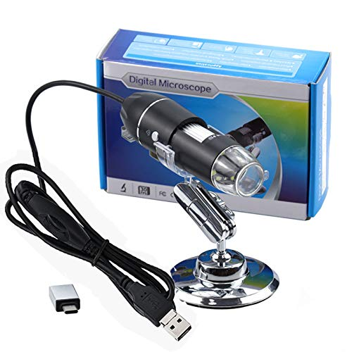XVZ Mikroskop HD Digital Mikroskop Micro USB 3 in 1 Typ-C Micro USB,USB Schnittstelle Mikroskop Vergrößerung 1600X mit 8 LED Mini Kamera mit Ständer für Personen Kompatibel mit Windows,Android und Mac