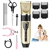 Dog Clippers, vcloo Dog Grooming Kit Cordless Electric Hair Clippers Low Noise Dog