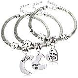 """Lauhonmin, set di 3 braccialetti con ciondoli a forma di cuori a incastro, con incisioni """"Big Sis"""", """"Middle Sis"""", """"Little Sis"""", idea regalo per sorelle"""