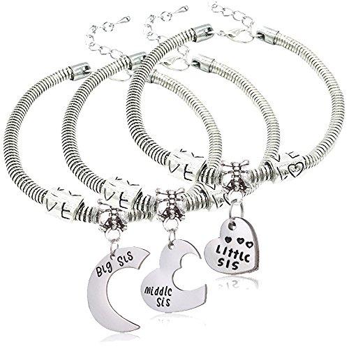 3 pulseras con colgantes en forma de corazón para hermanas con inscripción «hermana mayor», «hermana mediana», «hermana pequeña».