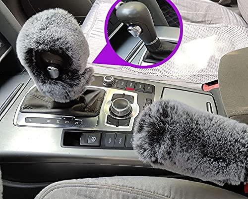 SMIUPIN Mode lurvig päls rattskydd, vinter varm kort fuskull fluffig handbroms skydd växelskydd auto interiör tillbehör (svart grå, automatisk (handbromsskydd + växelskydd))