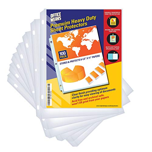 100 Clear Sheet Protectors, 8.5″ x 11″ Clear Page...