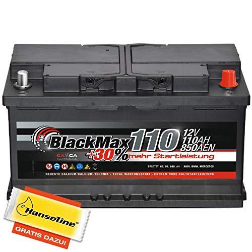 Autobatterie 12V 110Ah BlackMax 30{1116bdade3ca69e2bb83e5ad5a5008e07d3bc8f83dd58dd67310fbe6b0b70521} mehr Startkraft statt 88Ah 90Ah 95Ah 100Ah inklusive Polfett