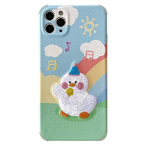 Cáscara Protectora, Caja de Silicona Ajuste para Cuerpo para iPhone, Música de Dibujos Animados Duck Lattice Funda Atrás, 4 Esquinas a Prueba de Golpes Gruesas, para A-iPhone 8