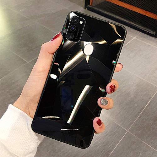 Uposao Kompatibel mit Samsung Galaxy A41 Hülle Spiegel Schutzhülle Bling Glänzend Glitzer Kristall Strass TPU Silikon Handyhülle Weiche Silikon Rückseite Glitzer Hülle Case Tasche,Schwarz