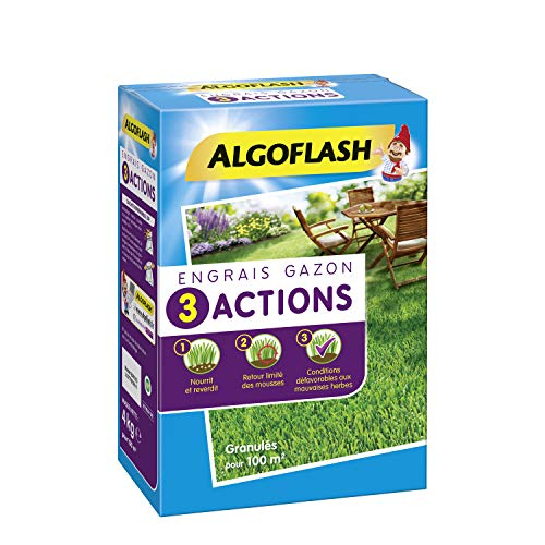 ALGOFLASH Engrais Gazon 3 Actions, Jusqu à 100 m², 4 kg, ETRIA100