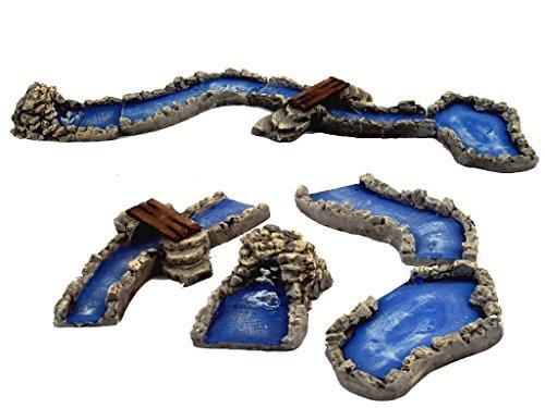 BERTONI 4Miniatur-Putz Fluss Sektionen, Holz, Mehrfarbig, 14x 47x 4cm