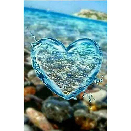 Diamond Painting Bild, Herzen Liebe mit Herz, Blau, runde Steinchen, ca. 40x30cm, Vollbild, gut für Anfänger geeignet (A)
