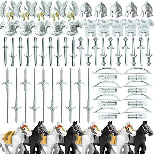 LICI Militär Minifiguren Waffen Set, 82 Stücke Antiken Griechischen Stil Ritterhelm Rüstungs Sätze, Mini Waffen Baustein Zubehörset, Kompatibel Mit Lego