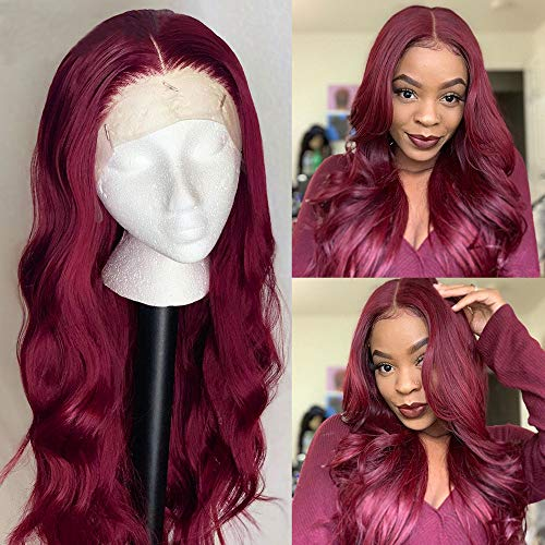 Human Hair Lace Front Wig - ORANGE STAR Colored Wine Red 99j Human Hair Wigs With Baby Hair Brazilian Long Water Wave Wigs 13x4\