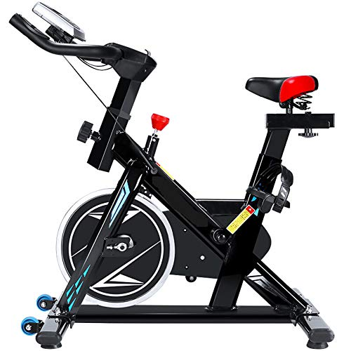 MGYQ Exercise Aerobic Indoor Cycling Bike Spin for Home Cardio Workout Training, Quiet & Smooth, with Belt Driven Adjustable Resistance & Seat