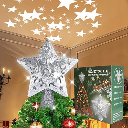 Soulitem - Puntale per albero di Natale, con brillantini, decorazione a LED