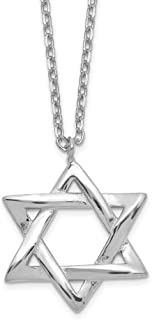 Solid 925 Sterling Silver Star of David Lucky Jewish 1in Extension Pendant Necklace Charm Chain