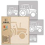 5 Stück wiederverwendbare Kunststoff-Schablonen // TRAKTOR // 34x34cm bis 9x9cm // Kinderzimmer-Dekorarion // Kinderzimmer-Vorlage
