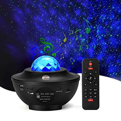Sternenprojektor Nachtlicht, Sternenhimmel Projektor Starry Light mit Fernbedienung, Bluetooth Lautsprecher-Musik hören Welleneffekt für Party, Weihnachten, Ostern, Halloween (Schwarz)