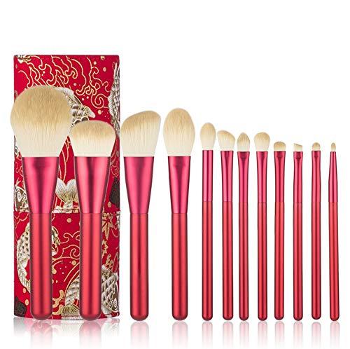 12 pièces brosse de maquillage avancée synthétique cheveux professionnel de la Fondation poudre contour blush cosmétique Eye maquillage brosse ensemble