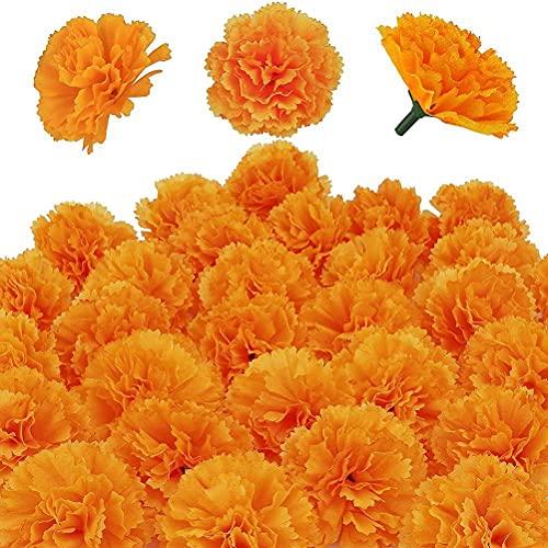 ZHAOCI 30 piezas de flores de caléndula artificiales, tela de seda, caléndulas,...