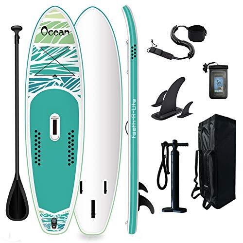FunWater Tabla de surf de remo hinchable de 320 x 84 x 15 cm, accesorios completos, remo ajustable, bomba, mochila de viaje, correa, bolsa impermeable, hasta 150 kg de capacidad de carga