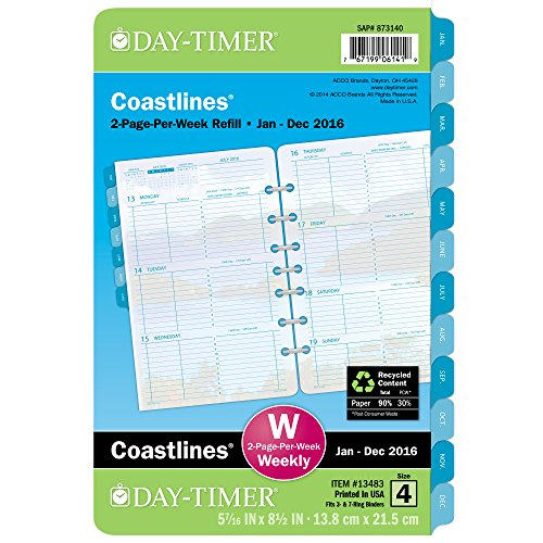 DayTimer Coastlines Desk-Size Weekly Refill 2016, 5.5 x 8.5 Inches (134831601)