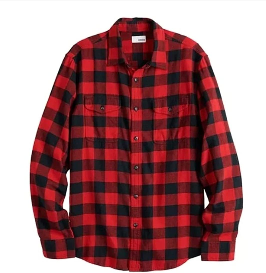 Sonoma Mens Classic Fit Flannel Long Sleeves Shirt Red Buffalo Plaid - 2 Chest Pockets