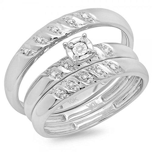 Dazzlingrock Collection Juego de anillos de compromiso de 0,08 quilates de diamantes blancos redondos de 10 quilates para hombres y mujeres, oro blanco